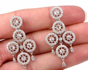 Ladies, Antique, 18k, White, Gold, Diamond, Pierced, Clip-On, Omega Clasp, Earrings