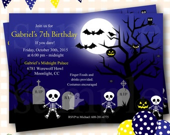 Skeleton Birthday Invitations, Halloween Birthday Invitations, Halloween Birthday Invites, Costume Party Invitations, Halloween Invite - H15