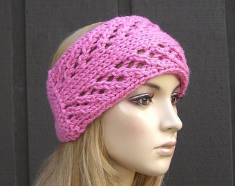 Knitted Head Wrap Headband Ear Warmer Pink with Button Closure