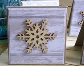 Winter Wooden Snowflake Mini Cards Set of 6