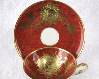 Retro Cup And Saucer Bavarian Gold Flowers On Red Martini Shape Cup 1950s Burnished Gold Teacup