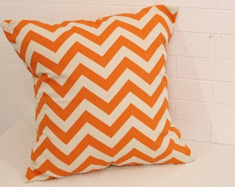 "17x17"" Orange & Natural Chevron Pillow Cover"