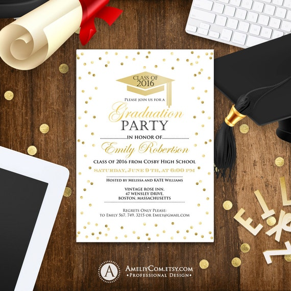 graduation invitation template printable gold confetti girl