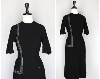 SALE ITEM 40% OFF Lovely Black Vintage Day Dress with Vertical Stripe Detail / 1940s 1950s