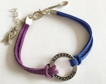 CFS Awareness Bracelet, ME Awareness Bracelet, Blue Awareness Bracelet, Spoonie Awareness Bracelet, Blue and Purple Awareness Bracelet,