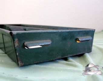 Industrial Metal Drawer, Vintage Green Metal Tool Tray, Desk Accessory, Dresser Tray, Potting Shed