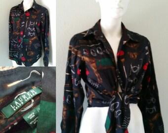 Vintage Lauren by Ralph Lauren equestrian shirt women's horse print button up women's medium