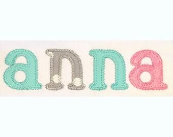 Mini Zigzag Embroidery Font Set - Instant Download