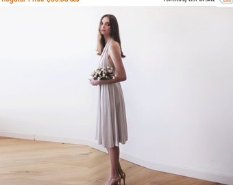 Champagne Backless midi dress, Halter-neck midi dress, Bridesmaids knee length champagne dress