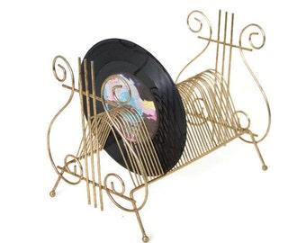 Vintage Gold Metal 45 Record Holder