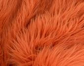 MoHair 60 Inch Faux Fur Orange Fabric by the Yard, 1 yard