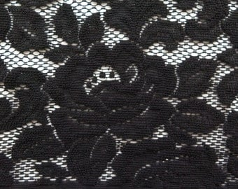 ℳ Victorian Rose Black Polyester heaver weave 70 inch FC12309 Fabric by the Yard, 1 yard
