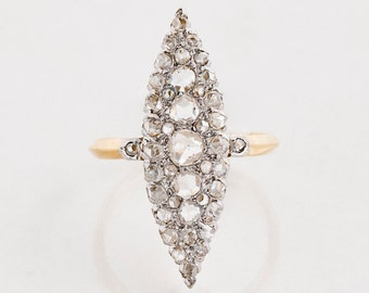 Antique Ring - Antique Victorian 14k Yellow & White Gold Navette Diamond Ring