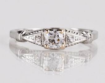 Antique Engagement Ring - Antique 1930s Platinum Diamond Engagement Ring