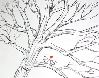 Custom Hand Drawn Fingerprint Tree Wedding Guest Book Alternative - Lovebirds Thumbprint Guestbook - Free Gift with Purchase