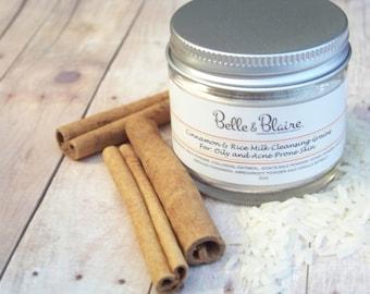 Cinnamon & Rice Milk Cleansing Grains- Natural Facial Cleasnser- Plant Based Organic Skin Care- 2oz