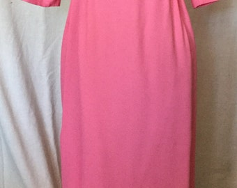 1950's gown in hot pink crepe  with green leaves at waist
