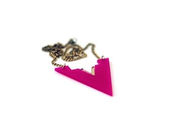 Geometric 80's Style Statement Necklace, Triangle Necklace, Deep Pink Color