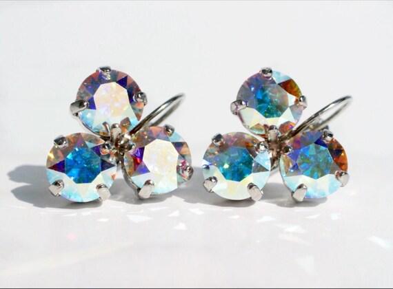 Swarovski Crystal 8.5mm Earrings Three Stone   Lucky Clover Earrings   Aurora Borealis -  FREE SHIPPING