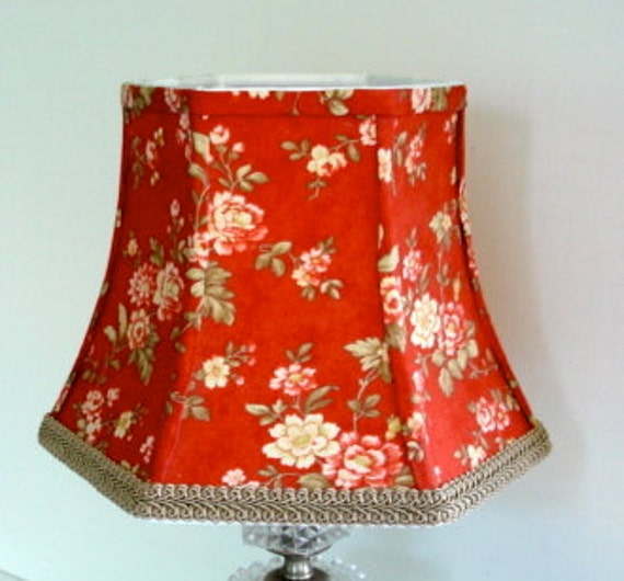 cottage decor lamp shade small red lampshade fabric. Black Bedroom Furniture Sets. Home Design Ideas