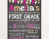 First Day Of School Sign, Pink, Gold, Sparkle, Kindergarten, Preschool, Back To School Sign, Digital Milestone Sign 8x10 or 11x14
