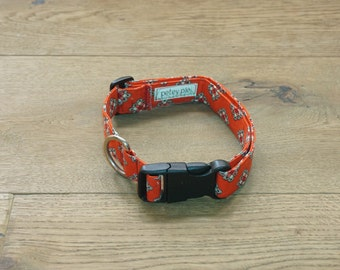 Red Printed Adjustable Dog Collar