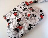 White Mickey Mouse Wristlet, Purse, Coin Purse, Wristlet Pouch, Zipper Pouch,