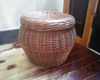 Vintage Natural Wicker Covered Basket - Wicker Hamper - Wicker Ottoman - Covered Wicker Basket ###ON SALE###