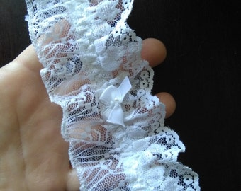 Vintage white lace hand made garter