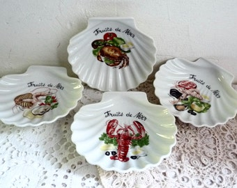Set of 4 Vintage PORCELAIN SHELL DISHES, Scallop Shaped Serving Bowls Marked: Fruits de Mer - Seafood. Decorated with 4 Different Images.