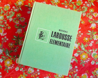 My Dictionary is Green. Vintage NOUVEAU LAROUSSE ELEMENTAIRE, Chunky Illustrated Dictionary, French Word Book, 1975.