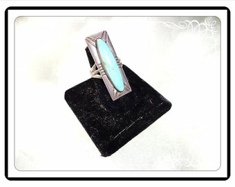 Sterling Silver & Turquoise Ring - Native American Indian (NAI) - Rectangle Statement Ring - Size 6 1/2  - Southwestern 1990's R2876a-092415