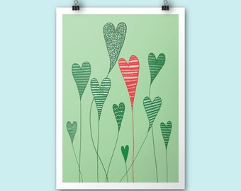 SALE / LAST 2 PRINTS!!! Growing Hearts / A4 print / Art print / Illustration / Contemporary art / Poster print