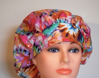 Tie Dye Print Bouffant Surgical Hat