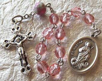 Saint Martha Pink Crystal Rosary Tenner