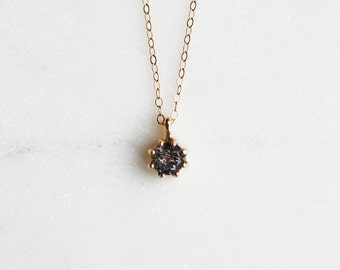 Small Tourmilated Quartz Necklace in 14k Yellow gold, Bridal Jewelry, Minimalist Pendant, Delicate Necklace, Birthstone