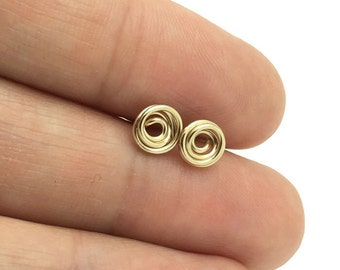 Rose stud earrings - 14 k goldfilled rose stud - Gold rose stud earrings