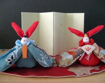 A set of Rabbit Couple Doll with Vintage Kimono fabric,
