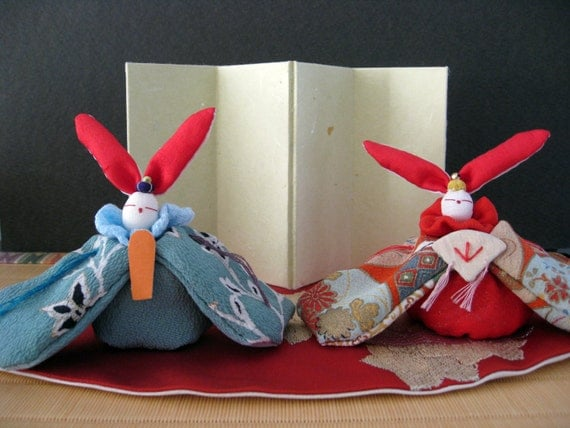 A set of Rabbit Couple Doll with Vintage Kimono fabric,
