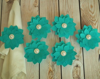 Turquoise napkin rings, fabric flowers with faux white pearls and fabric bands, cloth napkin ring, wedding table settings