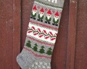 READY TO SHIP! Christmas Stocking Personalized Wool Hand knit Grey with Gnomes Christmas Gift Decoration
