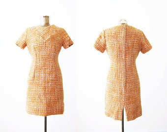 1960s Dress / Tweed Sheath Dress / Orange 60s Dress / Joan Mad Men Dress / Rockabilly Dress / Secretary Dress