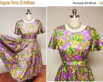 End of Summer Sale Vintage 50s Purple and Green Lattice Satin Metal Zipper Dress vintage dress 50s dress purple dress floral dress party dre