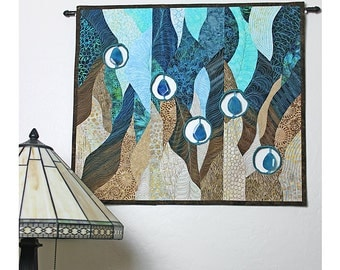 Quilted Wall Hanging, Fiber Art Quilt