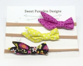 Baby Headbands. Bright Pink Bow. Yellow Bow. Grey Headband. Curtsy Bow. Baby Girl Bow. New Baby Gift. Baby Shower. Toddler Headband   HB1330
