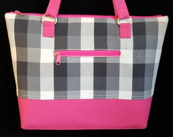 Medium Tote bag, Purses with Zippers,  Handmade Handbag, Plaid Purse, Shoulder Bag, Pink & Black Purse