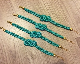 Bridesmaids gifts Set of 4 - Turquoise teal silk cord Knot Bracelet  - 24k gold plated