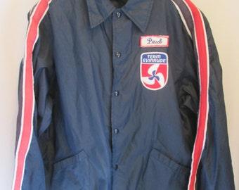 vintage, captains PAUL Team Evinrude navy blue red white racing stripe snap front nylon windbreaker mens XL