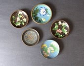 Cloisonne enamel trays, jewelry display, ring dishes, boho decor, desk decor