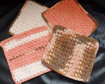 Handmade 100% Cotton Crochet Dishcloths/Washcloths-Set of 4- Ready to Ship